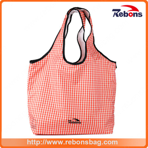 Foldable and Portable Fashion Soft Pink Grid Stripe Lady Tote Bag Wholesale