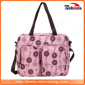 Latest Popular Adult Baby Diaper Bag Fashionable Mummy Bag with Flower Pattern