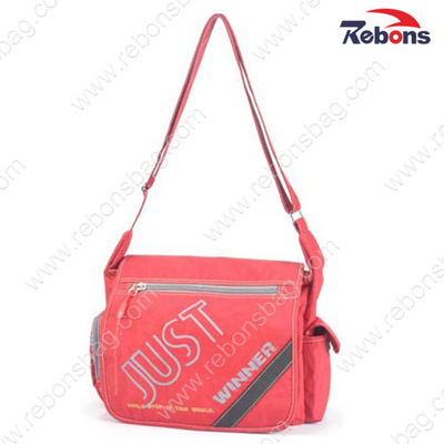 Nylon Red Ladies Long Strap Shoulder Messenger Bags for Sports