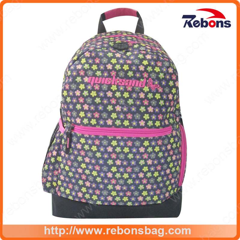 New Fashion Allover Flower Pattern Customized Logo Backpack for School