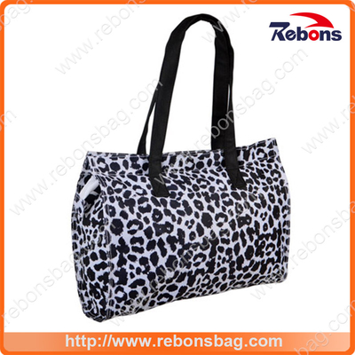 New Style Jacquard Fabric Shoulder Bag Tote Bag with Leopard Printing