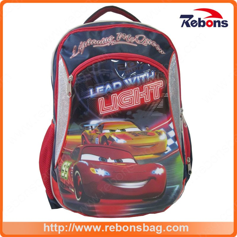 Car Race Pattern fashion Student Kids School Backpack Bags
