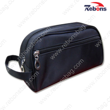 Black Men′s Plain PU Leather Travelling Toiletry Wash Bags
