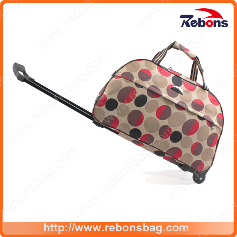 Personalized Small Spotted Printed Shopping Trolley Bag with Wheels