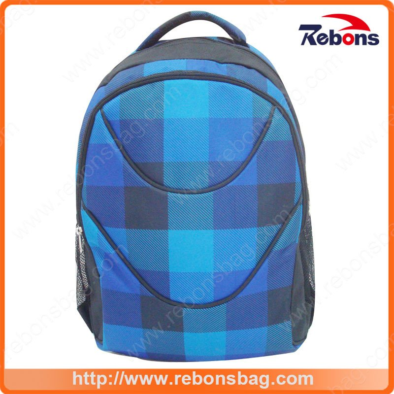New Brand Plaid Twill Cationic Polyester Backpack for Traveling